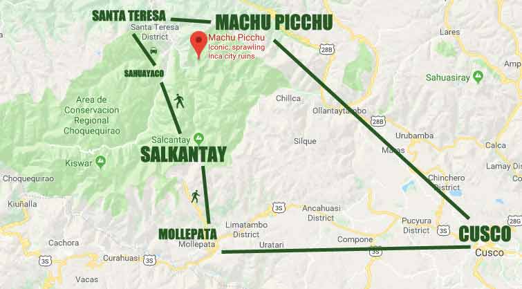 SALKANTAY TRAIL 4 DAY ROUTE